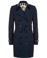 Burberry London Pemberly Leather Detail Mid-Length Trench Coat - Lyst