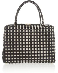 Marni Woven Leather and Raffia Bowling Bag - Lyst