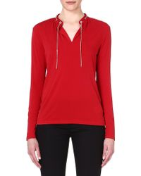 Michael by Michael Kors Chaindetail Stretchcrepe Top Red Currant - Lyst