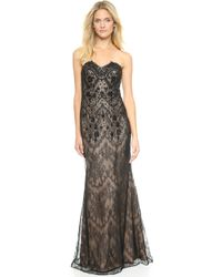 Notte By Marchesa Strapless Embroidered Lace Gown  Black - Lyst