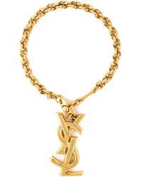 Yves Saint Laurent Vintage Logo Charm Bracelet - Lyst