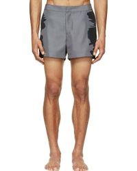 Calvin Klein Dark Grey Water Print Swim Shorts - Lyst