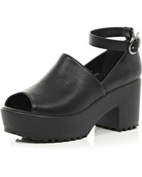 River Island Black Cut Out Block Heel Shoes - Lyst