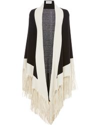 Barbajada - Leather Fringe Shawl In Nero And Arpa - Lyst