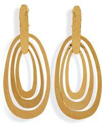 Herve Van Der Straeten Hammered Gold-Plated Saturne Clip Earrings - Lyst