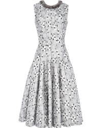 Thom Browne Straight Seam Fit and Flare Dress in Tic Tac Silk Jacquard with Mink Neck Trim - Lyst