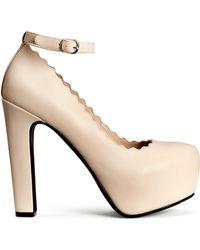 H&M Platform Court Shoes beige - Lyst