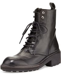 Ash Styx Laceup Leather Combat Boot - Lyst
