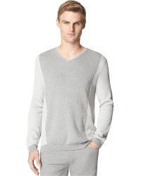 Calvin Klein Colorblocked Geometric V-neck Sweater - Lyst