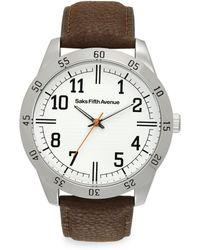 Saks Fifth Avenue - Silvertone Strap Watch/brown - Lyst