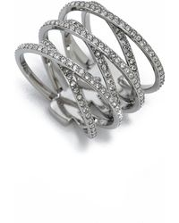 Michael Kors Pave Crisscross Ring - Silver/Clear silver - Lyst