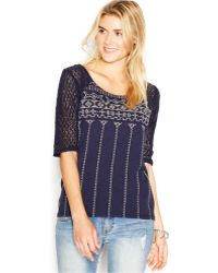 Lucky Brand Jeans Lucky Brand Elbow-Sleeve Scoop-Neck Top - Lyst