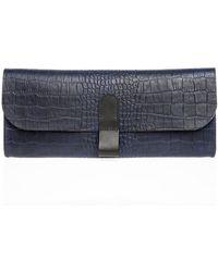 Danielle Foster Slimline Navy Leather Clutch By - Lyst