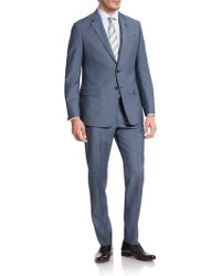 Armani Two-Button Solid Wool Suit blue - Lyst