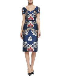Carolina Herrera Short-Sleeve Brocade Sheath Dress - Lyst
