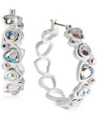 Betsey Johnson Silver-Tone Heart Hoop Earrings - Lyst