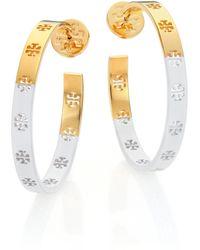 Tory Burch Dipped Pierced T Logo Hoop Earrings/1.55 gold - Lyst