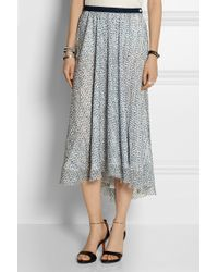 Band Of Outsiders Scribble Flower Althea Silk Fil Coupé Midi Skirt - Lyst