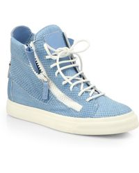 Giuseppe Zanotti Snake-Embossed Leather High-Top Sneakers - Lyst