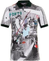 Dolce & Gabbana Digital-Print Cotton-Piqué Polo Shirt - Lyst