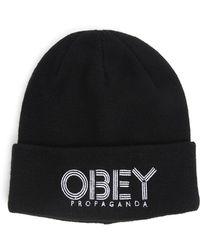 Obey Freestyle Black Beanie - Lyst