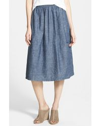 Eileen Fisher Chambray Skirt - Lyst