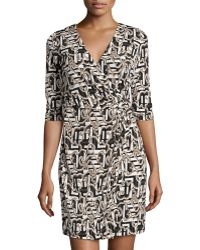 Laundry by Shelli Segal Printed 3/4-Sleeve Wrap Dress - Lyst