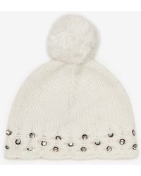 French Connection Lily Beaded Bobble Hat - Lyst