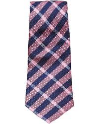 Turnbull & Asser - Slim Textured Check Tie In Navy And Pink - Lyst