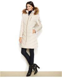 Calvin Klein Petite Fauxfurtrimmed Hooded Down Coat - Lyst