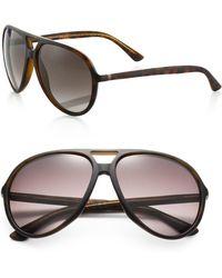 Gucci 61Mm Aviator Sunglasses brown - Lyst