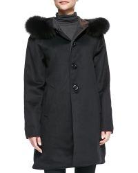 Sofia Cashmere Reversible Balmacaan W Fur-trimmed Hood - Lyst