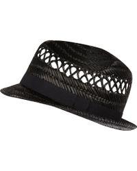 River Island Black Straw Trilby Hat - Lyst