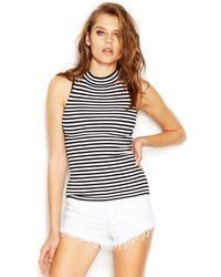 Guess Sleeveless Mock-Turtleneck Striped Knit Top - Lyst