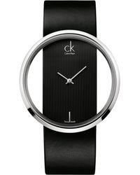 Calvin Klein Women'S Swiss Glam Black Leather Strap 42Mm K9423107 - Lyst