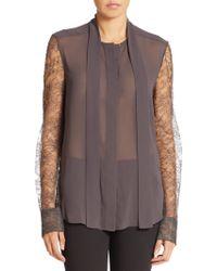 Vera Wang | Chantilly Lace-sleeve Blouse | Lyst