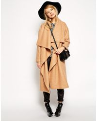 Asos Over Sized Coat with Waterfall Drape - Lyst