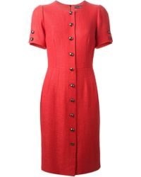 Dolce & Gabbana Red Button Dress - Lyst