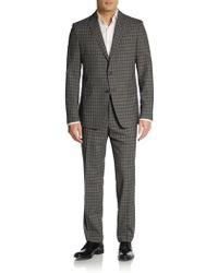 Etro Regular-fit Windowpane Wool Suit - Lyst
