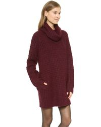 Elizabeth And James Turtleneck Mini Dress - Burgundy - Lyst