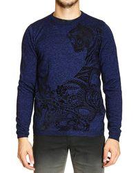 Roberto Cavalli Sweater Crewneck Print Tiger Flock - Lyst