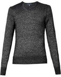 John Varvatos Vneck Metallic Sweater - Lyst