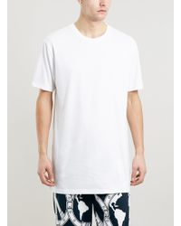 Topman White Slim Long Line Fit T-shirt - Lyst