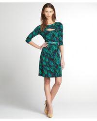 Chetta B Emerald Printed Stretch Jersey 3/4 Sleeve Belted Dress - Lyst