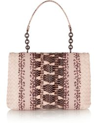 Bottega Veneta Olimpia Intrecciato Leather And Mangrove Snake Shoulder Bag - Lyst