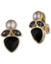 Anne Klein - Faceted Jet And Faux Pearl Goldtone Earrings - Lyst