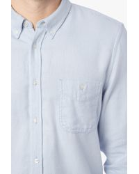 7 For All Mankind | Oxford Flannel Shirt In Sky Blue | Lyst
