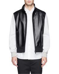 Neil Barrett Contrast Sleeve Leather Biker Jacket - Lyst
