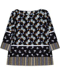 Suno Floral Boatneck Top - Lyst