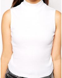 Asos Crop Top In Rib With Turtle Neck - Lyst